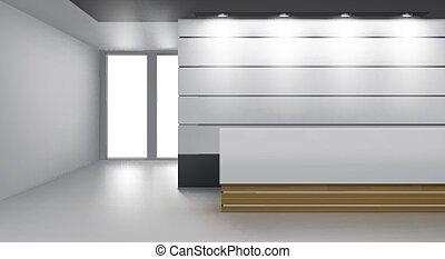 recepción, interior, vestíbulo, cómodo, moderno, escritorio