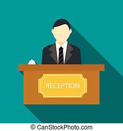 Recepción masculina en el ícono de recepción del hotel