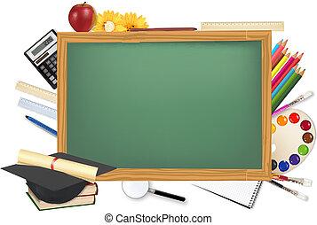 Recepción verde con suministros escolares