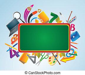 Recepción verde con suministros escolares.
