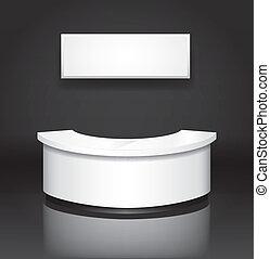 Recepción/exhibición en el mostrador con placa