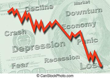 recesión, concepto, economía