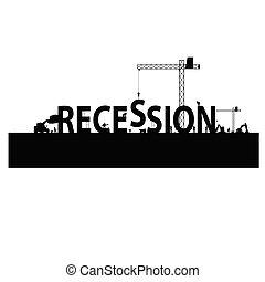 recesión, vector, mano de obra, ilustración