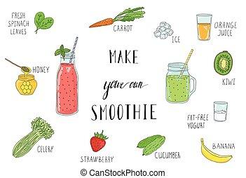 Receta de batido con una botella e ingredientes. Detox, comida saludable.