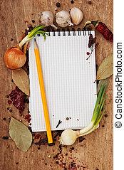recetas, cuaderno, especias