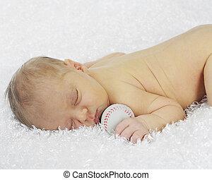 Recién nacido amante del béisbol