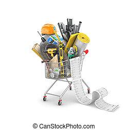 recibo, edificio, montón, 3d, materiales, carretilla de las compras, ilustración