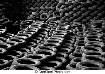 reciclado, actitud, reciclaje, pila, tires.