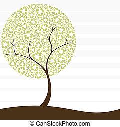 reciclaje, concepto, árbol, retro