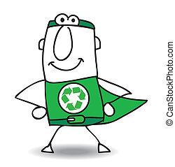 reciclaje, superhero, espalda, venida