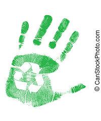 reciclaje, verde, handprint