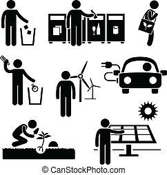 reciclar, ambiente, verde, hombre