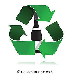 reciclar, icono, botella, vidrio
