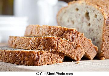 recientemente, tablero de madera, delicioso, cocido al horno, plátano, bread