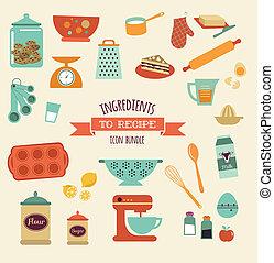 Recipe y vector de cocina diseño, icono set