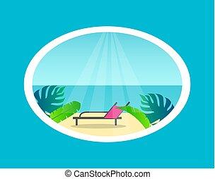 Recliner en la playa tropical cerca del mar bajo el sol
