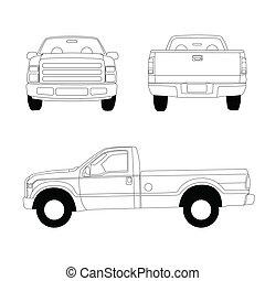 recogida, línea, camión, ilustración