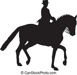 recogido, caballo, silueta, dressage, trote