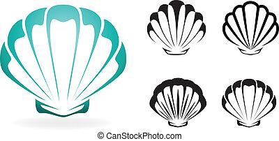 Recolección de conchas: Vector silueta ilustración