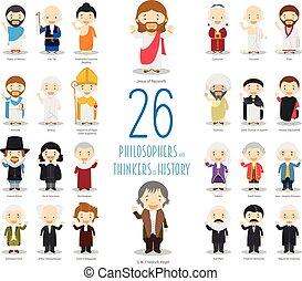 Recolección de personajes de vectores infantiles: set de 26 grandes filósofos y pensadores de la historia al estilo de dibujos animados.
