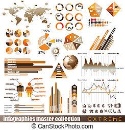 Recolección maestra de gráficos de premio: gráficos, histogramas, flechas, mapas, globo 3D, iconos y muchos elementos de diseño relacionados.