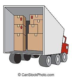recolocación, camión en movimiento