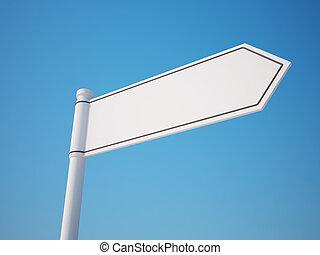 recorte, blanco, trayectoria, poste indicador