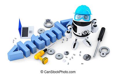 recorte, concept., contiene, aislado, robot, fondo., html, trayectoria, blanco, tecnología, signo.