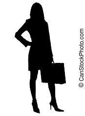 recorte, mujer, silueta, maletín, empresa / negocio, trayectoria