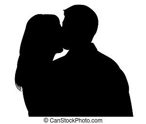 recorte, silueta, el besarse de los pares, trayectoria, witn
