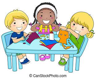 recortes papel, niños, elaboración