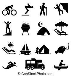 recreación, al aire libre, ocio, iconos