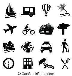 recreación, conjunto, viaje, icono, ocio