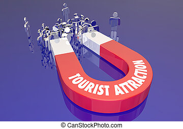 recreación, turista, viaje destino, imán, atracción, palabras, feriado, viaje
