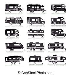 recreativo, iconos, vehículo, negro
