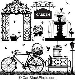 recreativo, parque, jardín