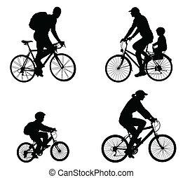 recreativo, silueta, bicyclists