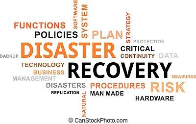 recuperación, -, palabra, nube, desastre