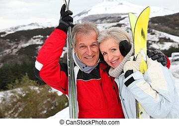 recurso, 3º edad, esquí, pareja