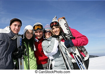 recurso, amigos, grupo, esquí