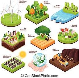 recursos, natural, isométrico, conjunto