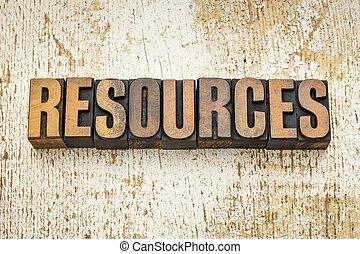 recursos, tipo, madera, palabra