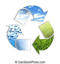 recycl, tres, elemento, ing, símbolo