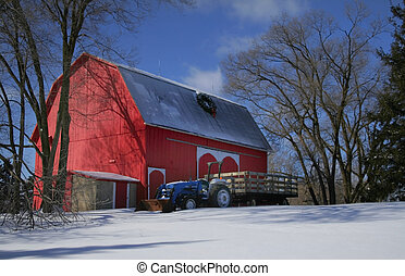 Red Barn y tractor