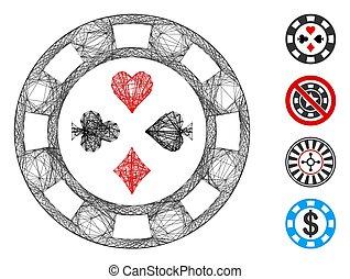 red, casino, malla, póker, vector, astilla