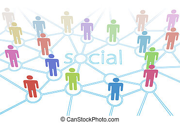 red, color de la gente, medios, conexiones, social