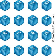 Red computando iconos de cubos listos.