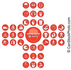Red cruciform salud y colecta de iconos de seguridad