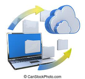 red de información, transferir, servidor, datos, o, nube