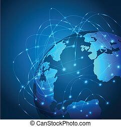 Red de malla de tecnología mundial, ilustración vectorial